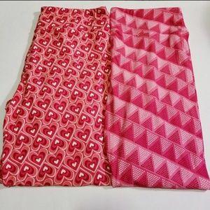 2 NWT Lularoe Tall&Curvy TC Pink Heart Leggings
